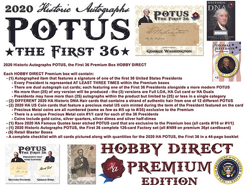 2020 Historic Autographs - POTUS The First 36 - HOBBY DIRECT PREMIUM EDITION
