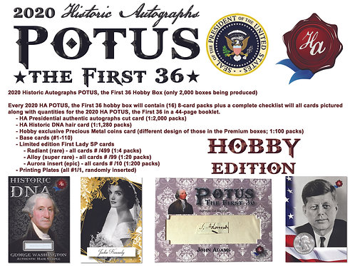 2020 Historic Autographs - POTUS The First 36 - HOBBY EDITION
