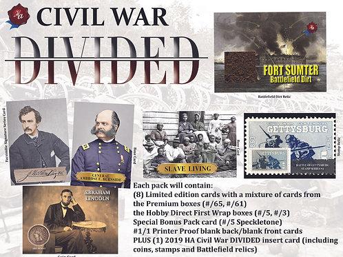 2019 Historic Autographs Civil War DIVIDED Bonus packs