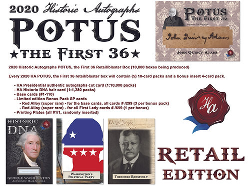 2020 Historic Autographs - POTUS The First 36 -RETAIL(Blaster) EDITION