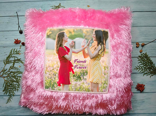 Photo printed fur pillow - Pink