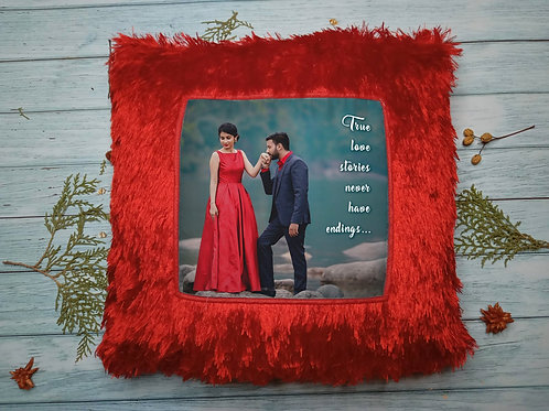 Photo printed fur pillow - Red