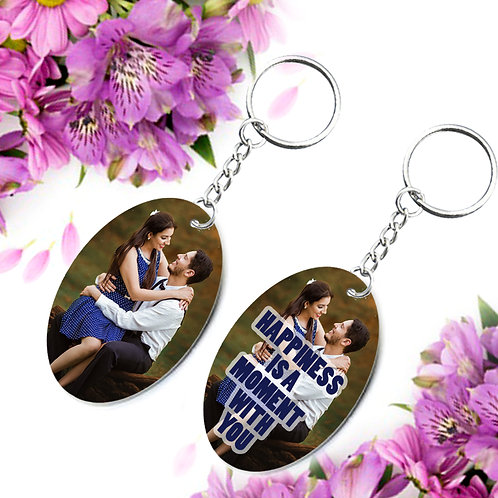 Photo Printed Keyrings - Oval ( Double Side )