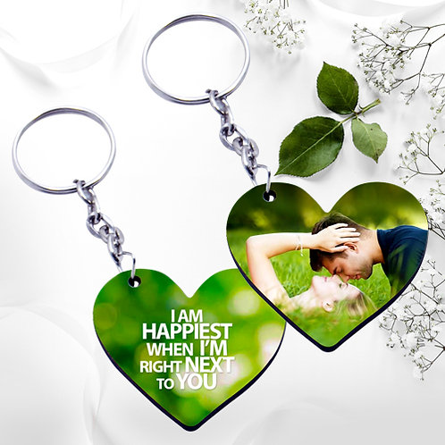 Photo Printed Keyrings - Heart ( Double Side )