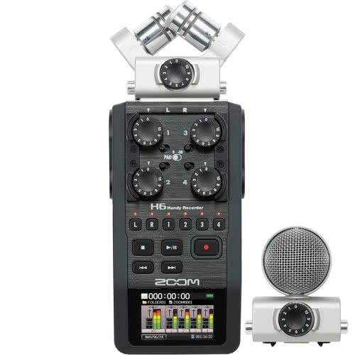Zoom H6 six-track Audio Recorder with external battery pack