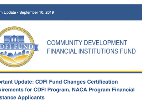 CDFI Fund Changes Certification Requirements