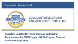 CDFI Certification and Grant Deadline