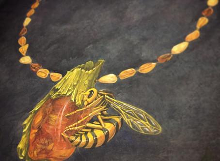 「ハチの冬眠」デザイン画(水彩)