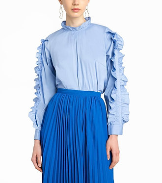 Pixie Market Double Ruffled Sleeve Shirt