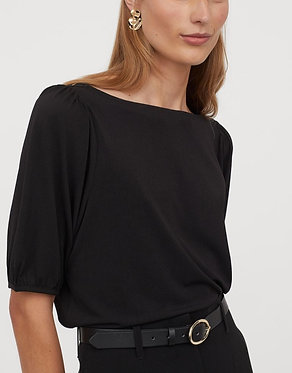 H&M Black Puff-sleeved Boat-neck Top