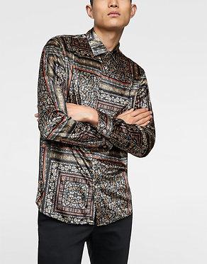 ZARA MAN Printed Velvet Shirt