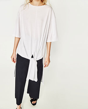 ZARA Woman Oversized White T-Shirt with Knot