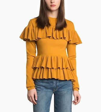 Pixie Market Mustard Ruffle Sweater