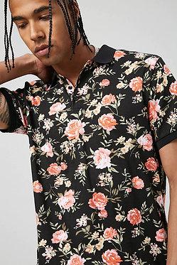 FOREVER21 Men's Floral Print Polo Shirt