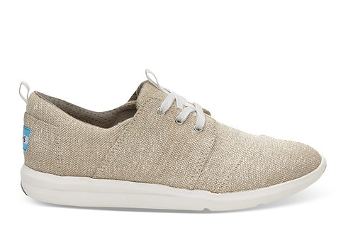 TOMS Women's Natural Metallic Linen Del Rey Sneakers