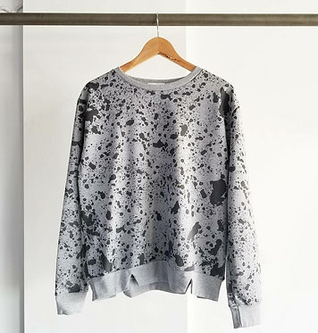 Grey Paint Splatter Print Sweatshirt