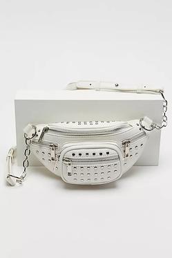Danni White Studded Faux Leather Belt Bag