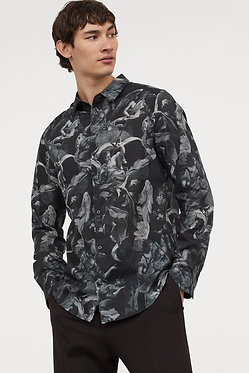 H&M Men's Black Angels Print Shirt