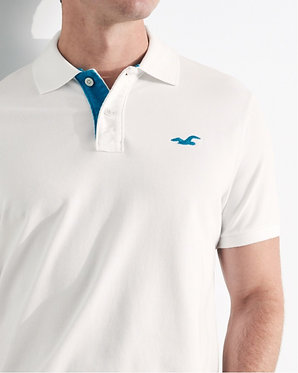 Hollister White Stretch Pique Polo