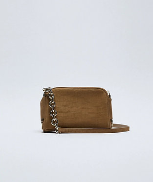 ZARA Embossed Split Leather Crossbody Bag