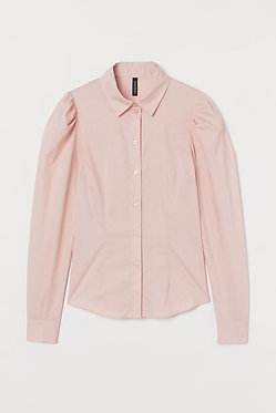 H&M Pink Puff-sleeved Shirt