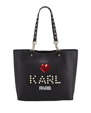 Karl Lagerfeld Pearly Logo Studded Black Tote Bag