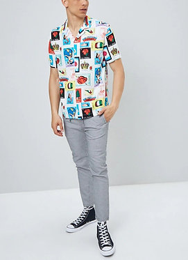 FOREVER 21 Men's Loteria Card Print Shirt