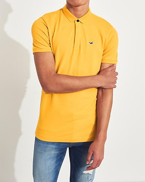 Hollister Stretch Shrunken Collar Polo Yellow