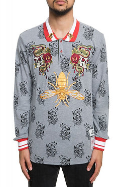 Reason Snake and Skull Rugby Long Sleeve Polo