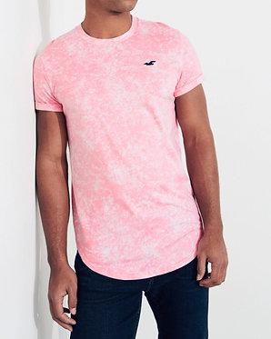 Hollister Curved Hem Pink Tie Dye T-Shirt