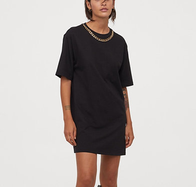 H&M T-shirt Dress with Gold Chain