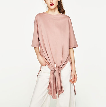 ZARA Woman Oversized Faded Pink T-Shirt with Knot