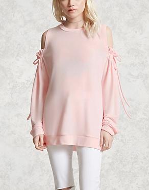 FOREVER 21 Pink Self-Tie Open-Shoulder Top