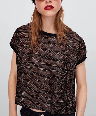 ZARA Jacquard T-shirt with Metallic Thread