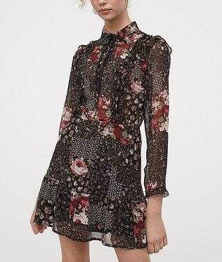 H&M Ruffled Floral Chiffon Dress