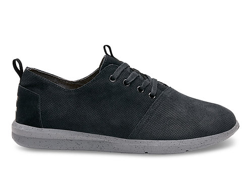 TOMS Men's Black Embossed Suede Del Rey Sneakers