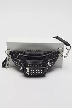 Danni Black Studded Faux Leather Belt Bag