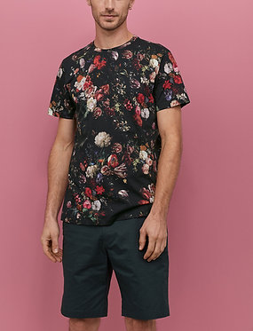 H&M Men's Black/Floral Patterned T-shirt