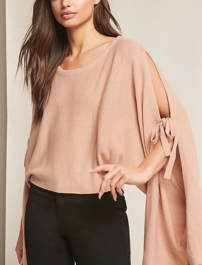 FOREVER21 Open-Shoulder Batwing Blush Sweater