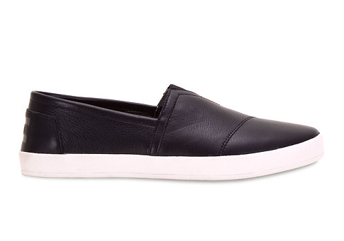 TOMS Men's Black Full Grain Leather Avalon Slip-Ons