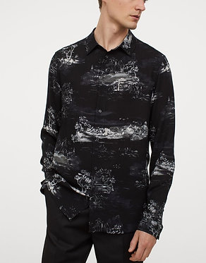 H&M Men's Black Print Slim Fit Shirt