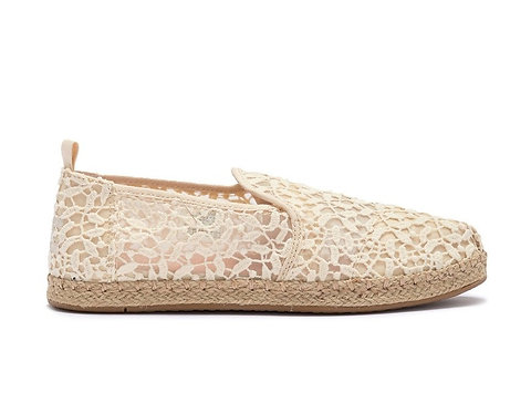 TOMS Women's Natural Floral Lace Deconstructed Espadrilles