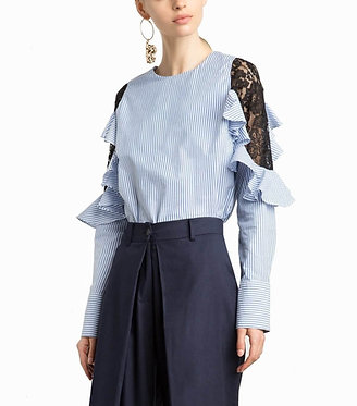 Pixie Market Henri Lace Striped Ruffle Shirt