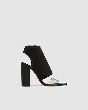 ZARA Stretch Fabric High Heel Sandals