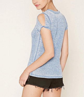 FOREVER 21 Blue Burnout Knit Tee