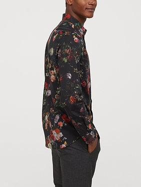 H&M Men's Black Floral Patterned Shirt
