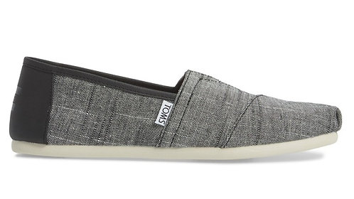 Toms Mens Classics Black Textured Chambray Trim