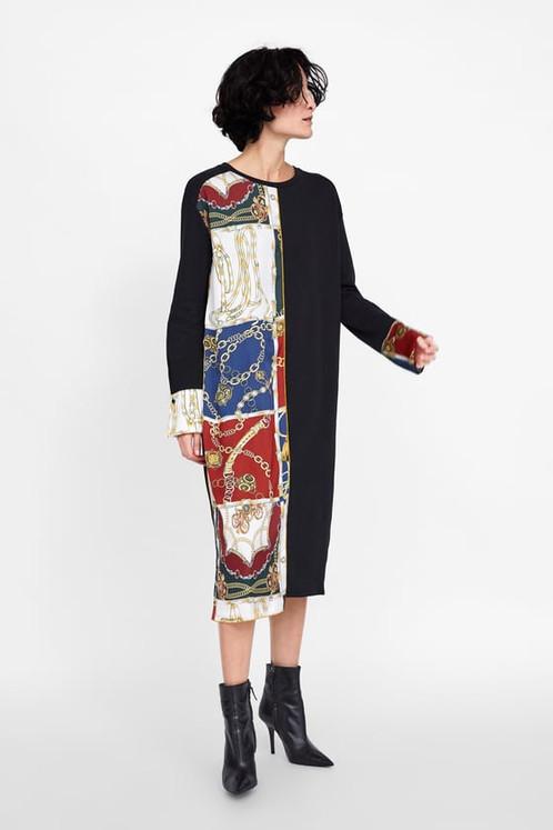e148c96400a ZARA Contrasting Chain Print Dress