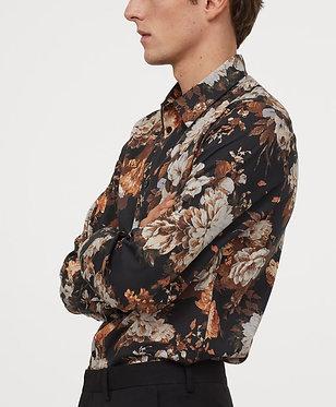 H&M Men's Floral Print Regular Fit Shirt