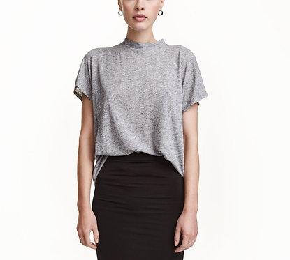 H&M Gray Melange Linen-blend Top